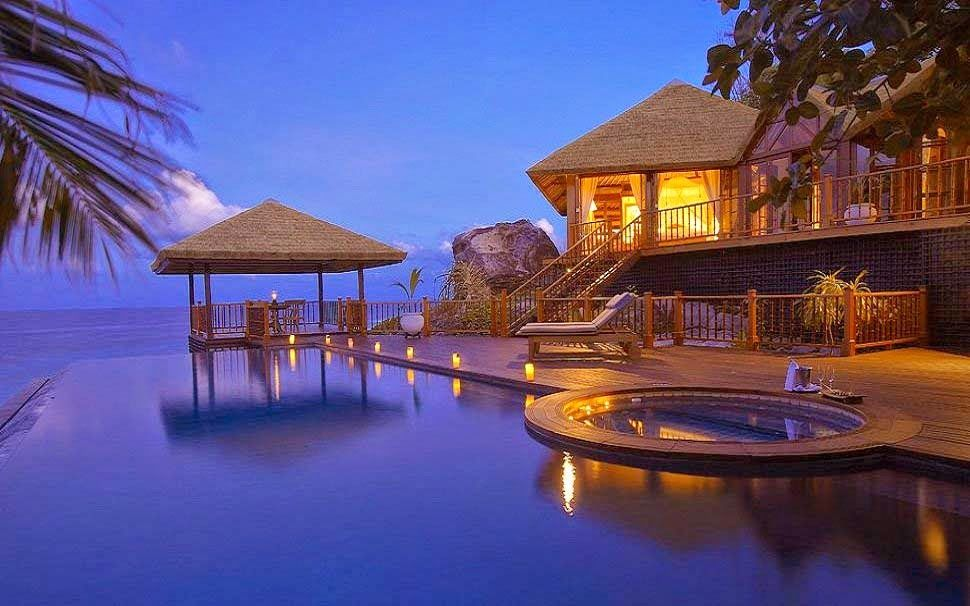 Tropical Island Beach Ambience Sound: Peaceful-evening-nice-house