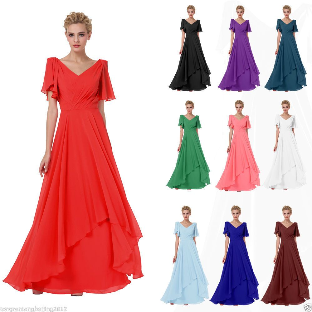 Awesome amazing women vneck long dress bridesmaid formal evening