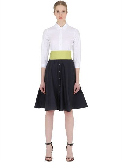 fb1d5ae493 SARA ROKA COTTON SHIRT DRESS WITH TAFFETA SKIRT, WHITE/BLACK. #sararoka  #cloth #dresses