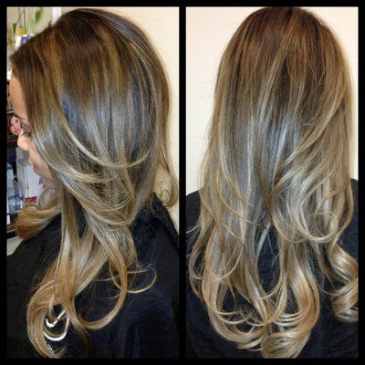 her hair super healthy and shiny with balayage highlights