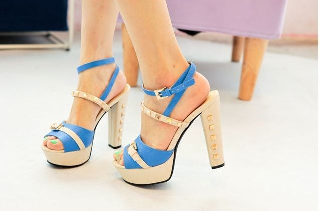 blue and beige heels, try not to pick on the orange one @ http://trendy-stilettoheels.blogspot.com