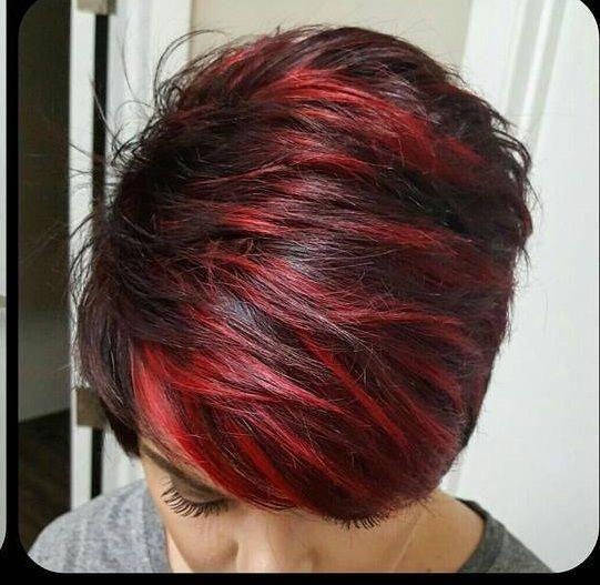 Red Highlight Short Hairs Darkshorthair Short Hair Highlights Short Hair Styles Short Red Hair