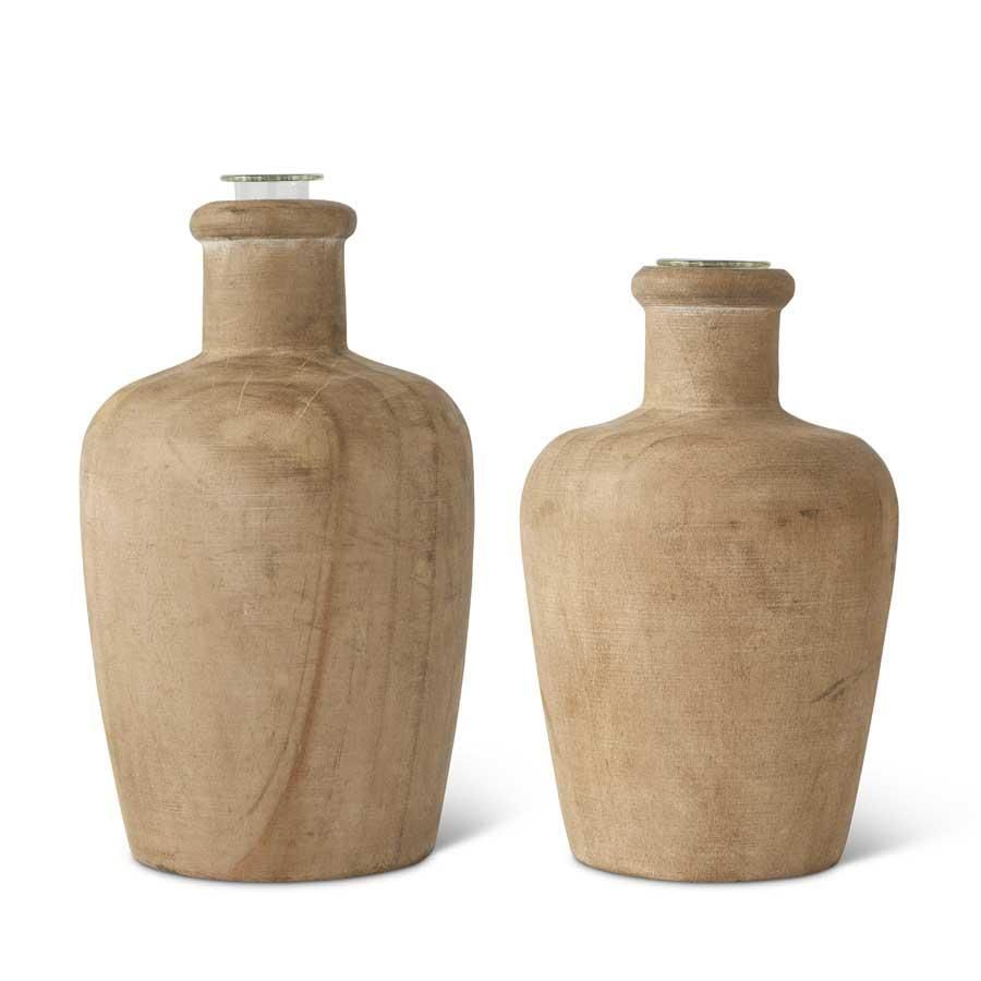 Set of 2 Pine Wood Bud Vases with glass insert.