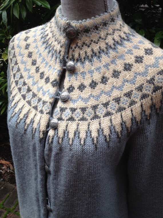 4453bdb112c868 Handmade in Norway by WILLIAM SCHMIDT of Oslo. Womens sweater size small.  The color combination is classic  the perfect shade of blue with ivory and  gray ...