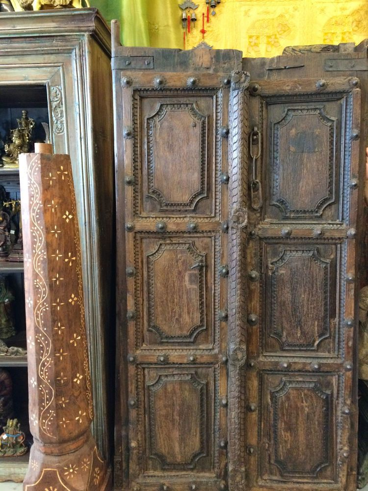 Antique Doors Brass Stars India Architecture Double Door Panels Carved Teak  Wood - Antique Doors Brass Stars India Architecture Double Door Panels
