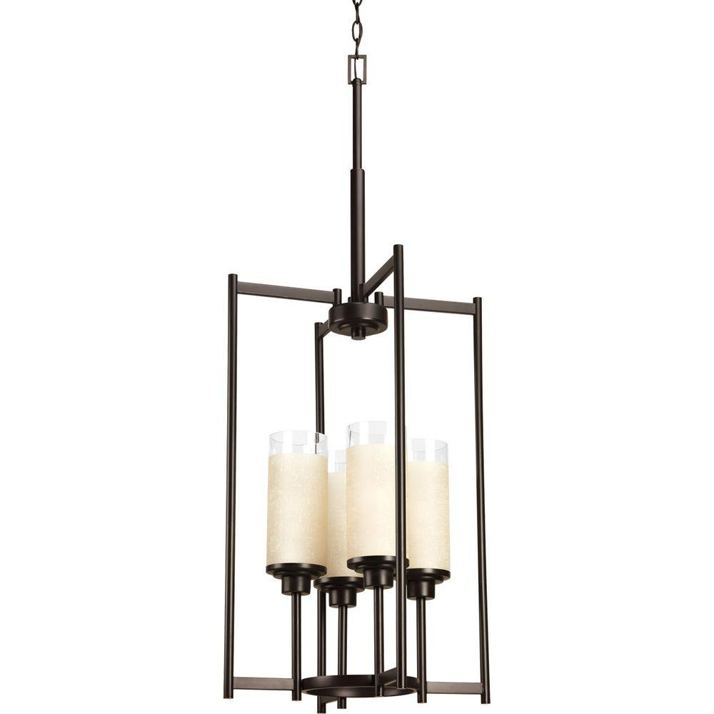 Progress Lighting Alexa Collection 4 Light Antique Bronze Foyer Pendant With Etched Umber Linen Glass P3977 20 Progress Lighting Foyer Pendant Lighting Glass Chandelier