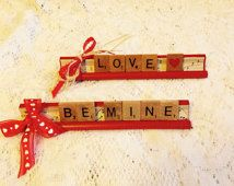 Scrabble Word Art ~ Love <3 ~ Be Mine ~ Vintage Wood Letter Tiles with Red Stand ~ Sheet music background ~ Scrabble Letter Words