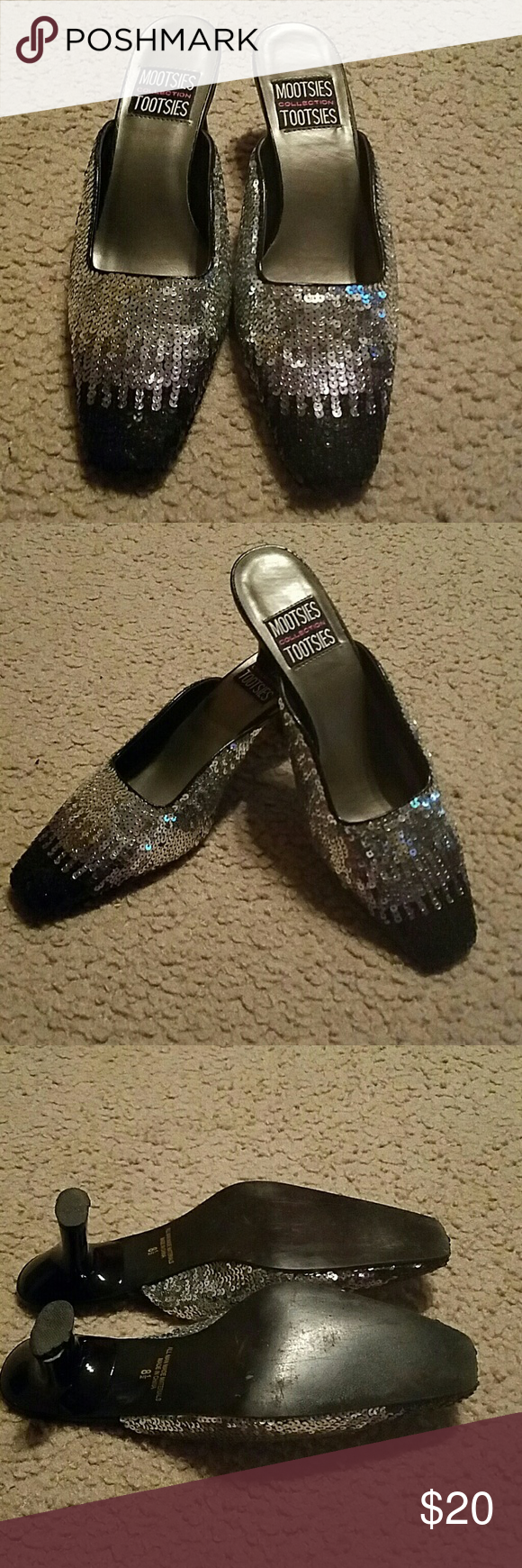 Black and Silver Sequin Mules Black and Silver Sequin Mules. Size 8 1/2 Mootssies Tootsies Collection  Shoes Mules & Clogs