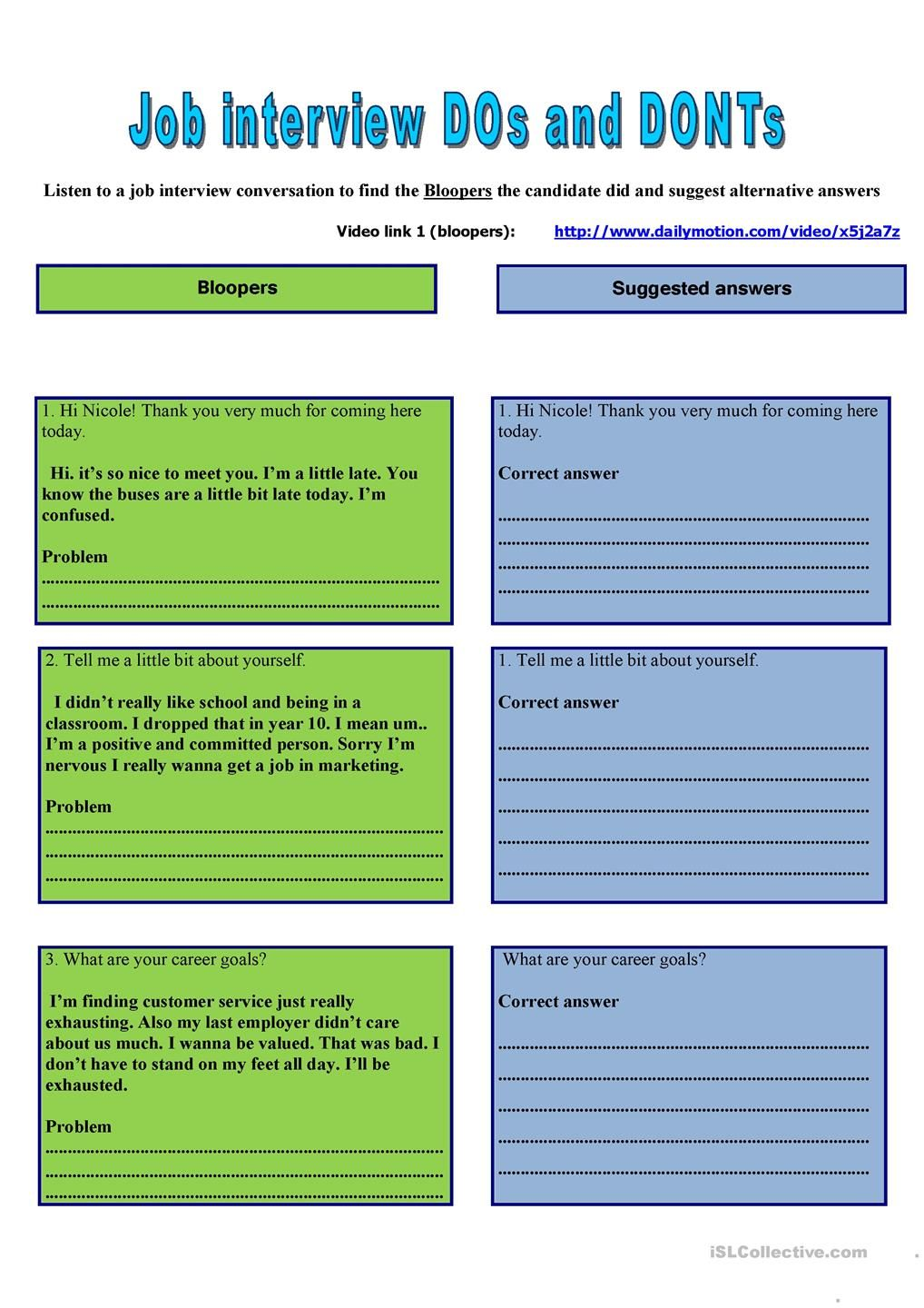 Worksheets Job Interview Worksheets job interview business lesson based on four skill activities plan