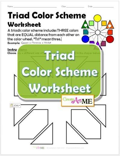 Triad Color Scheme Worksheet Triad color scheme, Color