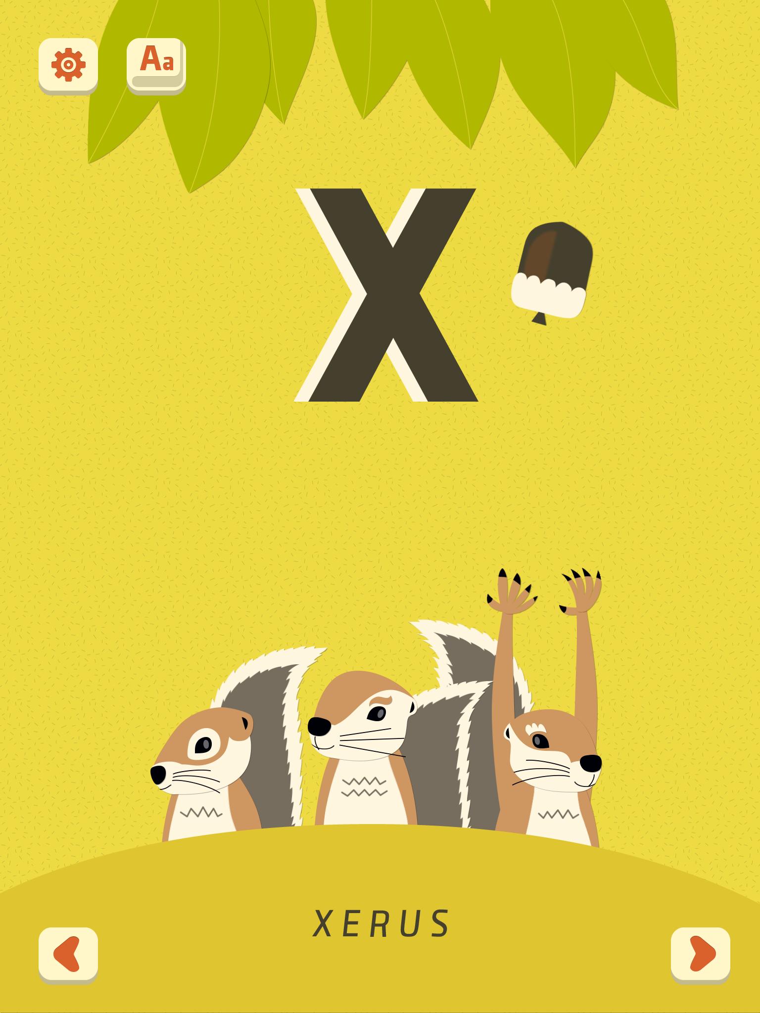 X Xerus. MiniU Zoo Alphabet, PopAppFactory, updated