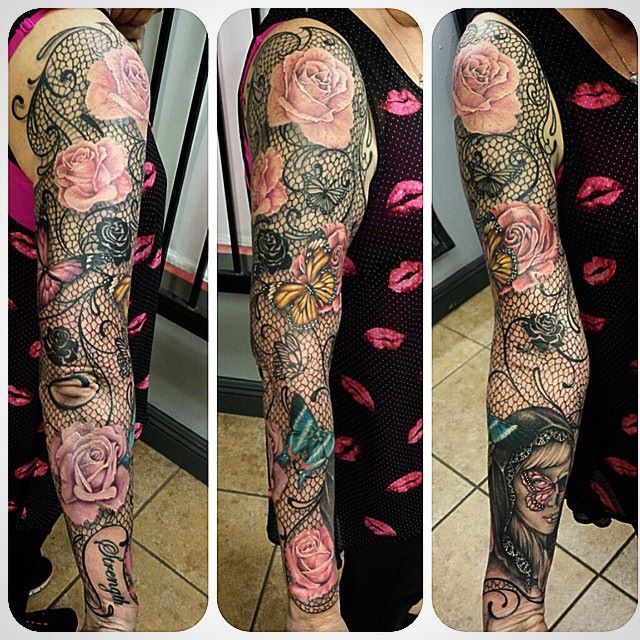 Lace & butterfly w/ roses full. Sleeve | Tattoo | Sleeve ... Lace Sleeve Tattoos For Women