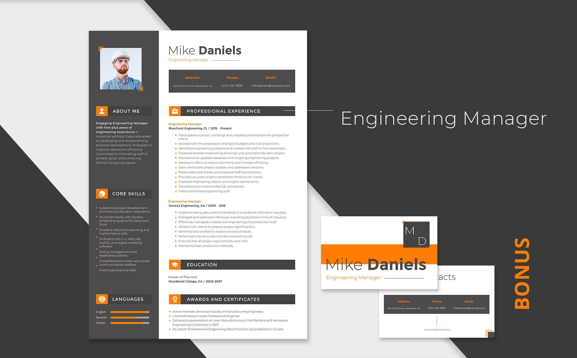 Mike Daniels Engineering Manager Resume Template 66446