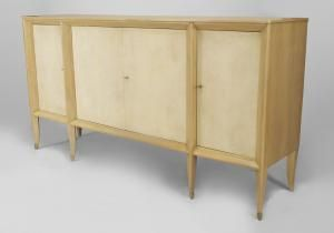 French 1940s Bleached Sycamore Wood Sideboard With 4 Parchment Veneered Doors Supported On Spade Legs With Bronze Sabot Wood Sideboard Furniture Sycamore Wood