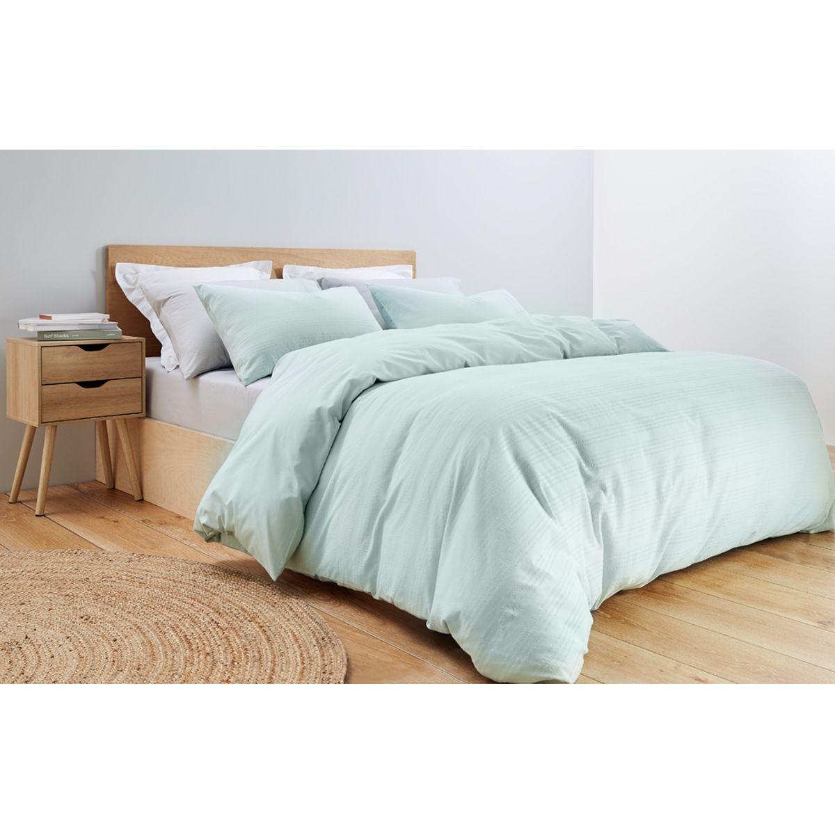 Catherine Seersucker Quilt Cover Set Queen Bed Green Kmart Kmart Bedding Bed Quilt Cover Sets