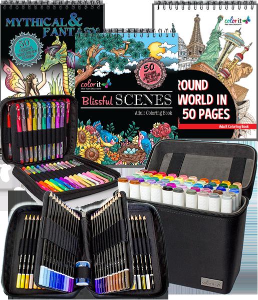 Colorit Great Escape Bundle 3 Coloring Books 50 Marker Set 48 Gel Pen Set And 72 Colored Pencil Set Colored Pencil Set Gel Pens Set Pen Sets