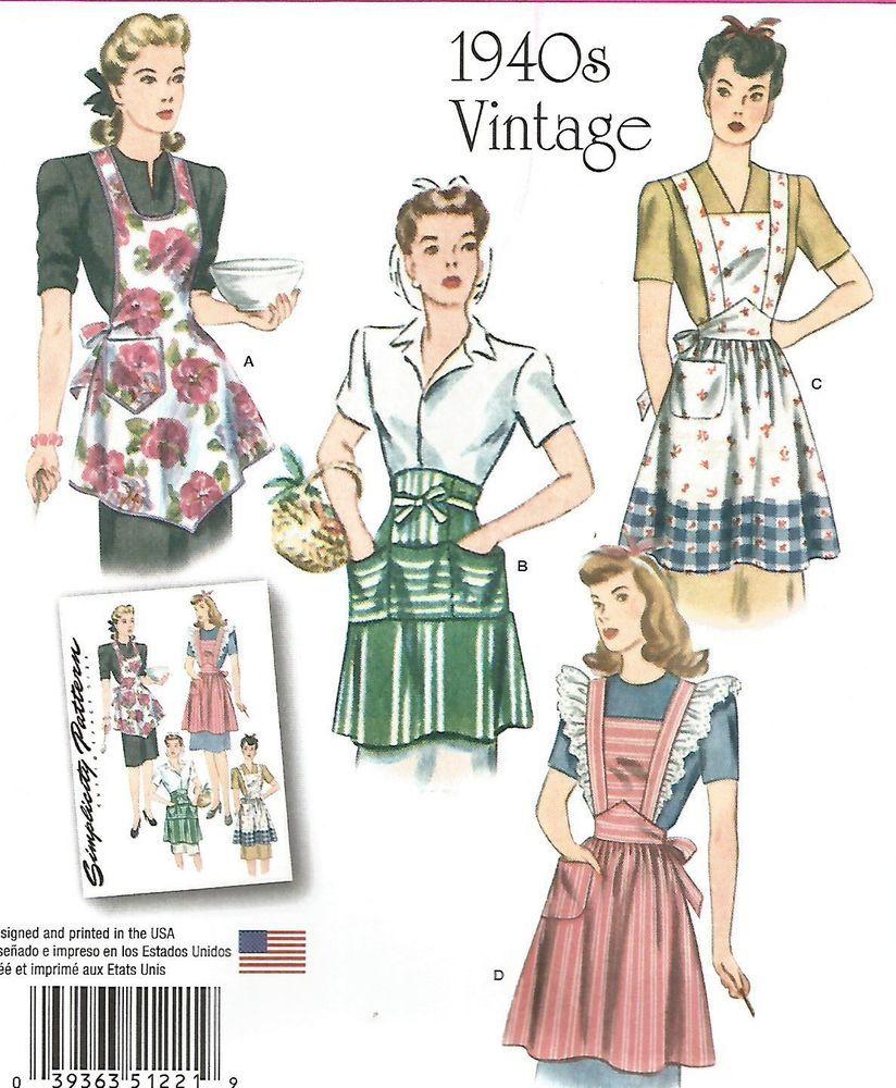 Uncut simplicity 1221 misses\' apron\'s vintage retro 1940\'s various ...