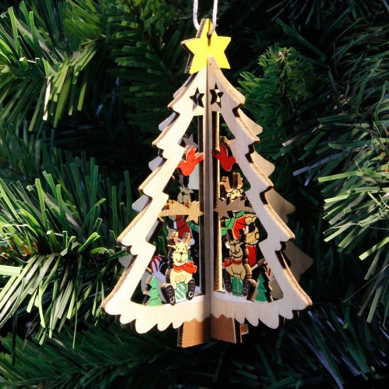 1PC 3D Christmas Tree Pendant Hanging Wooden Christmas Decoration