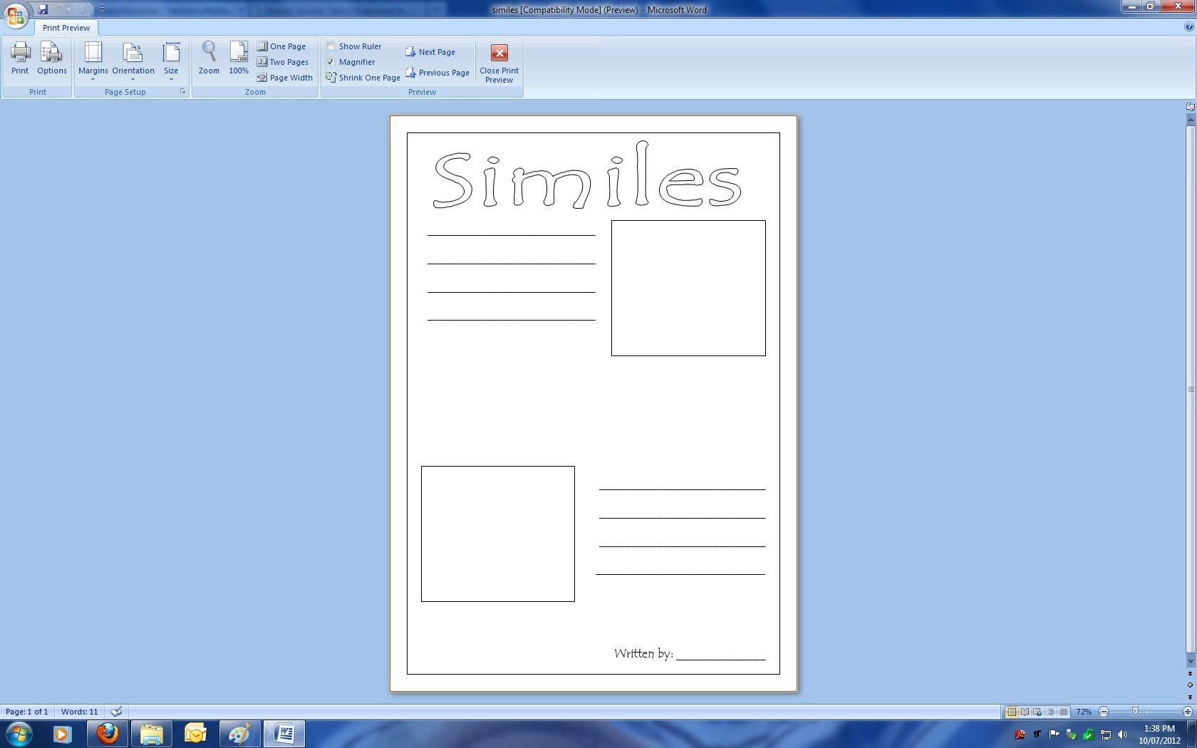 Free Similies Worksheet