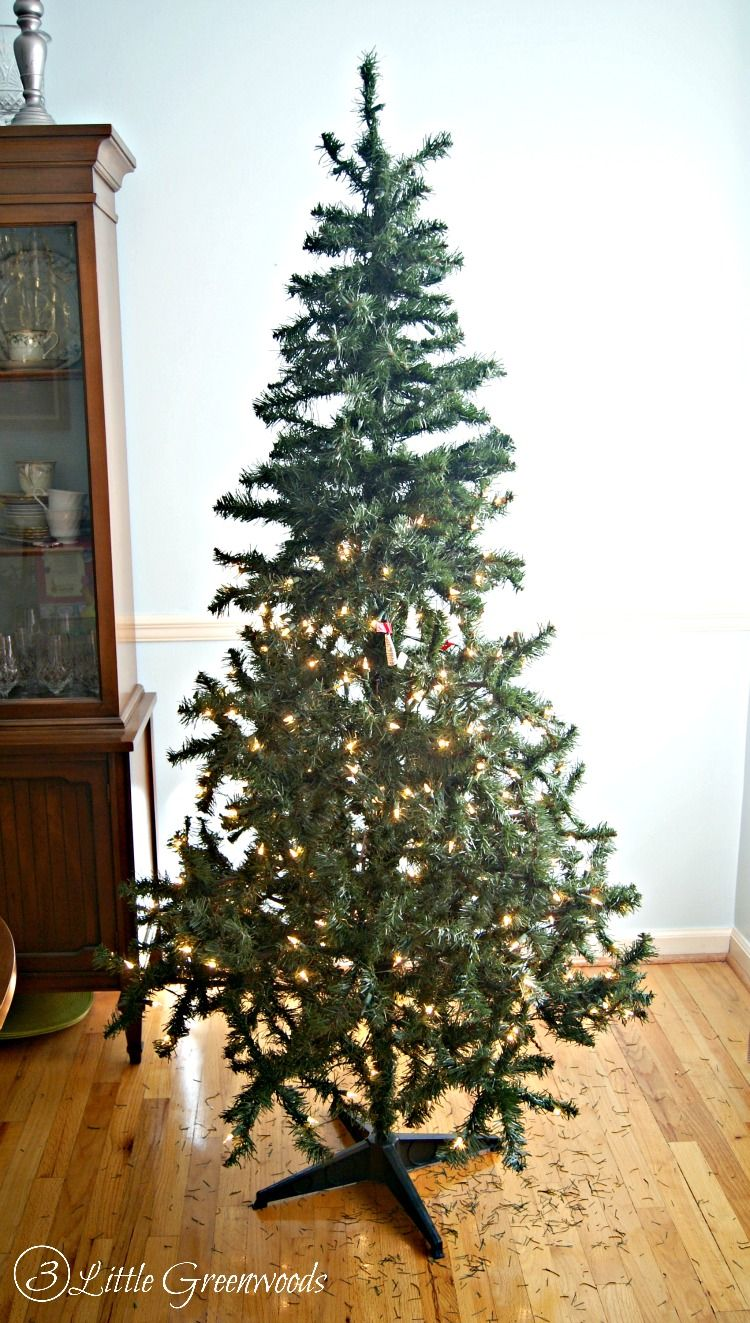 Update A Fake Christmas Tree For Less Than 10 By 3 Little Greenwoods Fake Christmas Trees Diy Christmas Decorations Easy Faux Christmas Trees