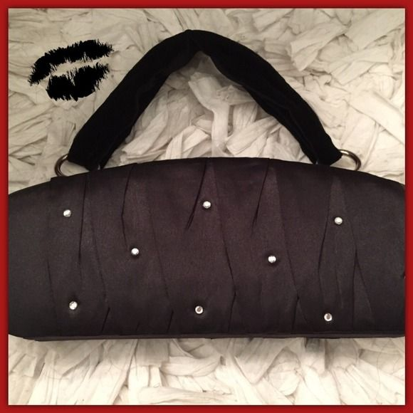 """⚡️️REDUCED!⚡️ PLEATED SATIN BAG /CLUTCH - NWOT Gorgeous satin purse with pleating and rhinestones on both sides and adjustable velvet strap. Magnetic closure.  13"""" W x 5"""" H x 1 3/4"""" D Victoria's Secret Bags Clutches & Wristlets"""