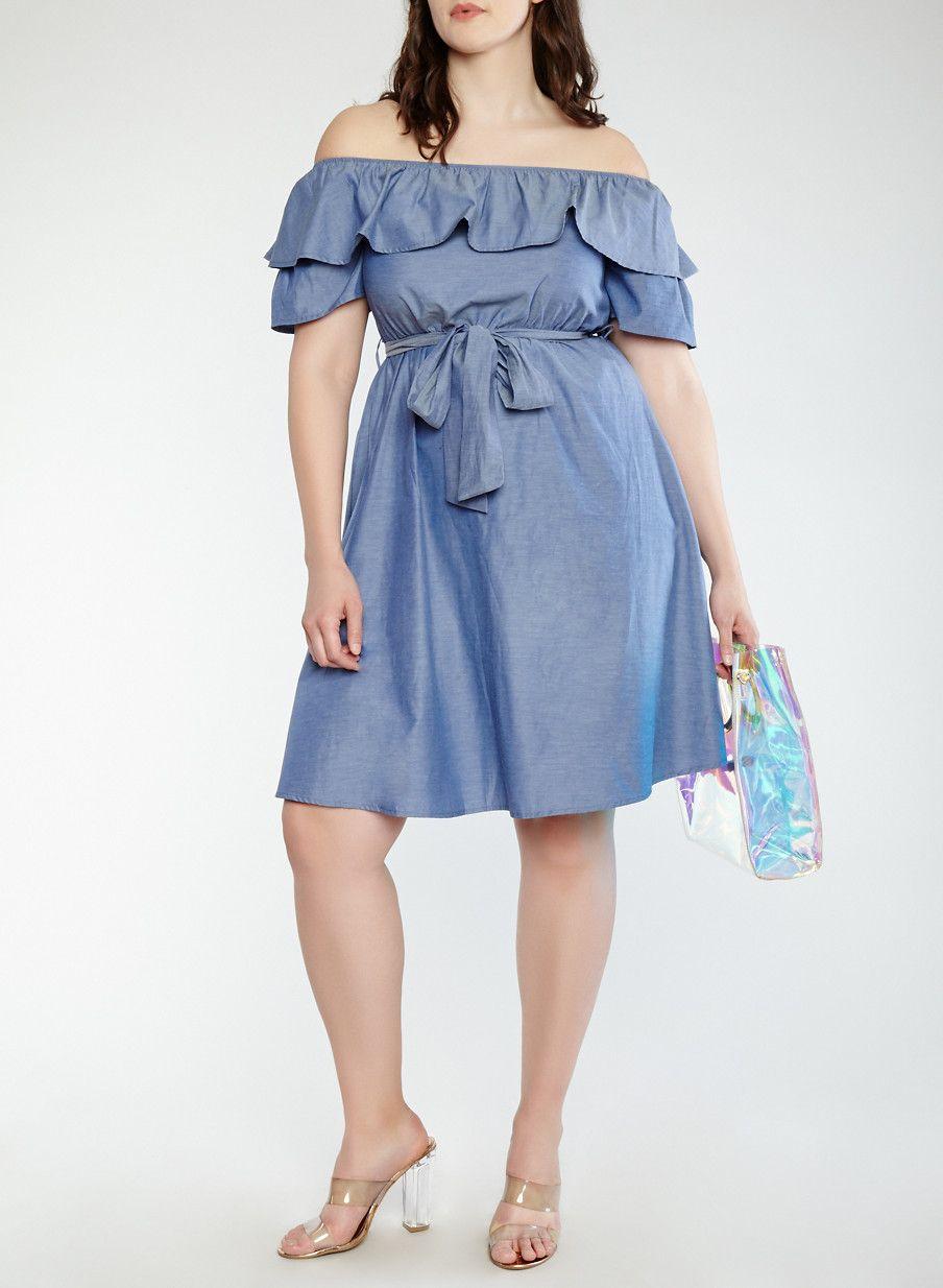 82d859d9254 Plus Size Chambray Off the Shoulder Dress