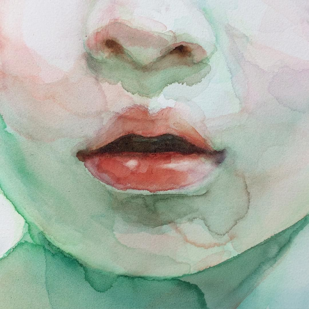 Detail Of Surrounded By Your Voice Watercolor Lips Mouth