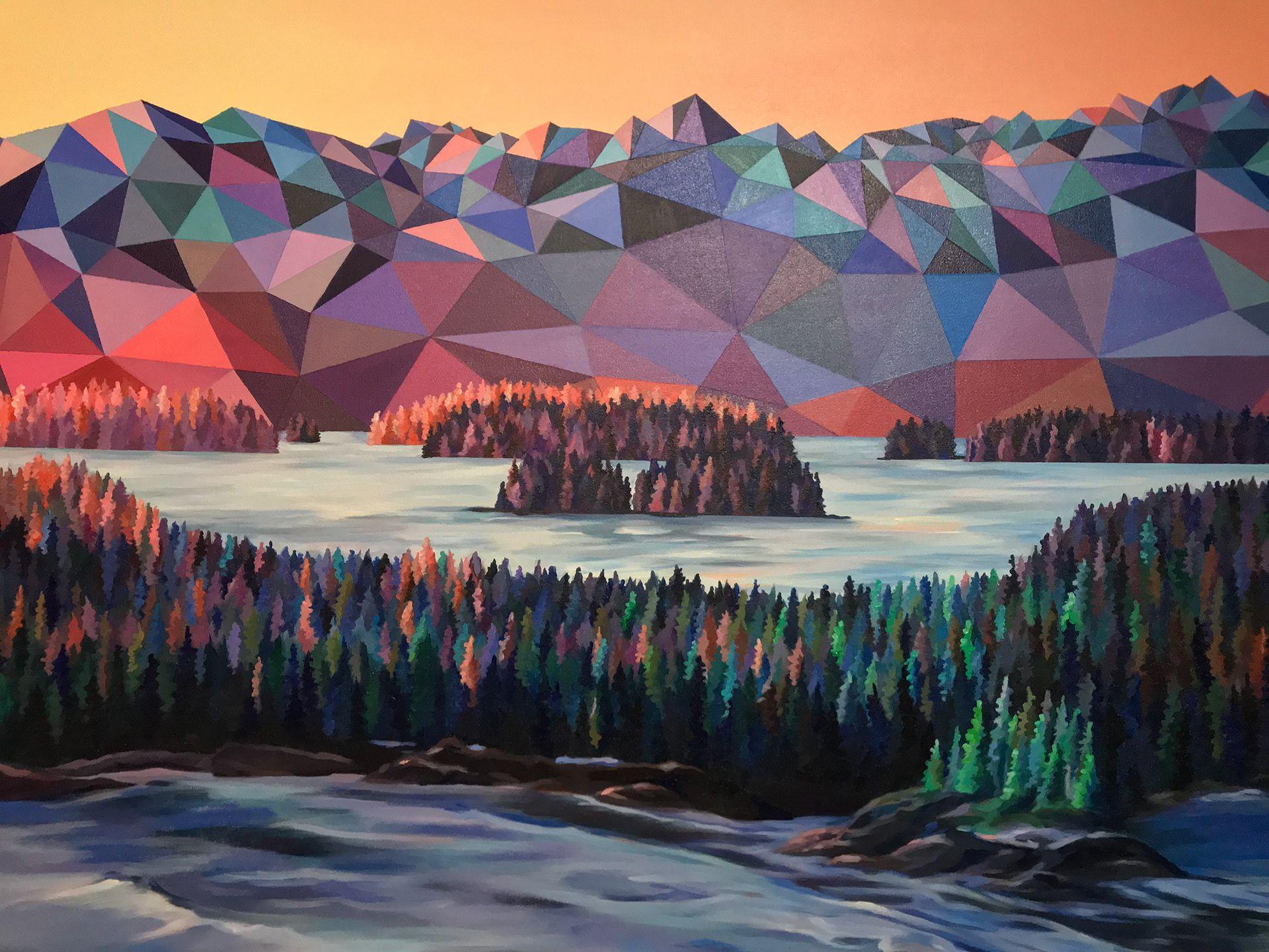 Com linhas afiadas e geométricas, pintora define os cumes