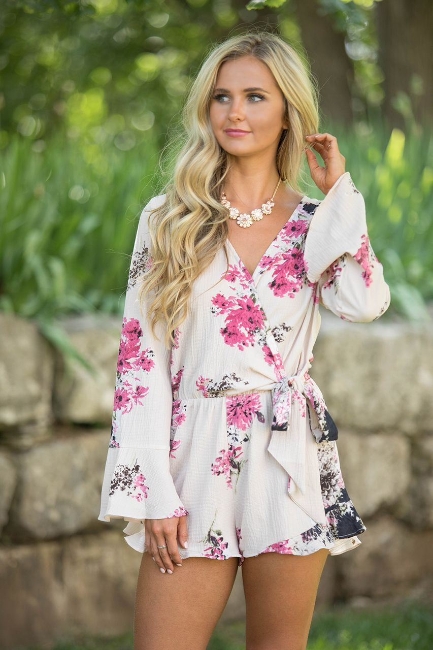 94d3e09664e We are in love with this gorgeous floral romper - it s such an effortlessly  romantic look for spring and summer! Featuring a lovely floral print in  blush ...