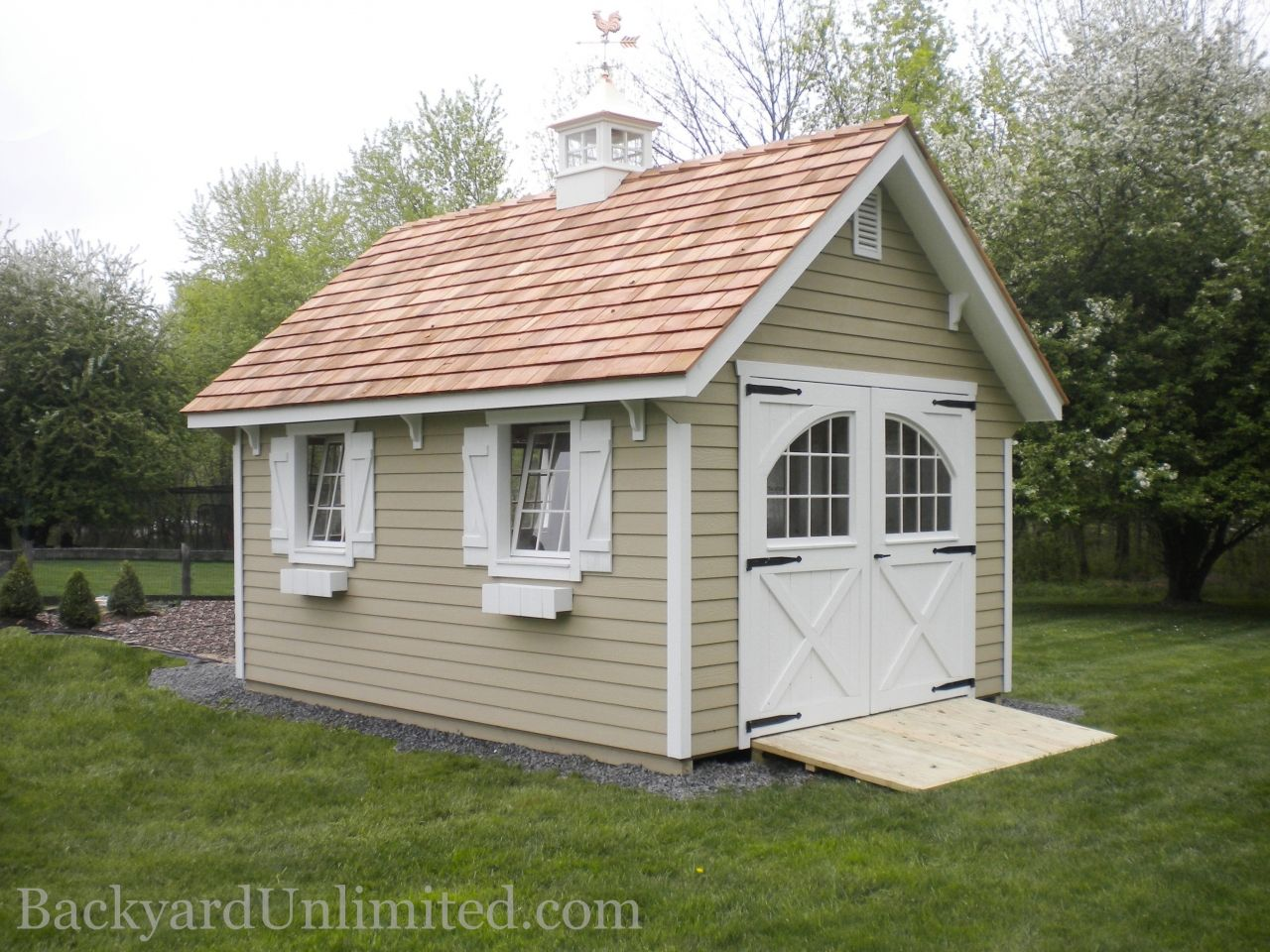 12 X16 Craftsman Shed With Lap Siding Carriage House Doors With Pinion Hinges 9 Lite Wood Windows Shutters Flower Backyard Structures Shed Craftsman Sheds