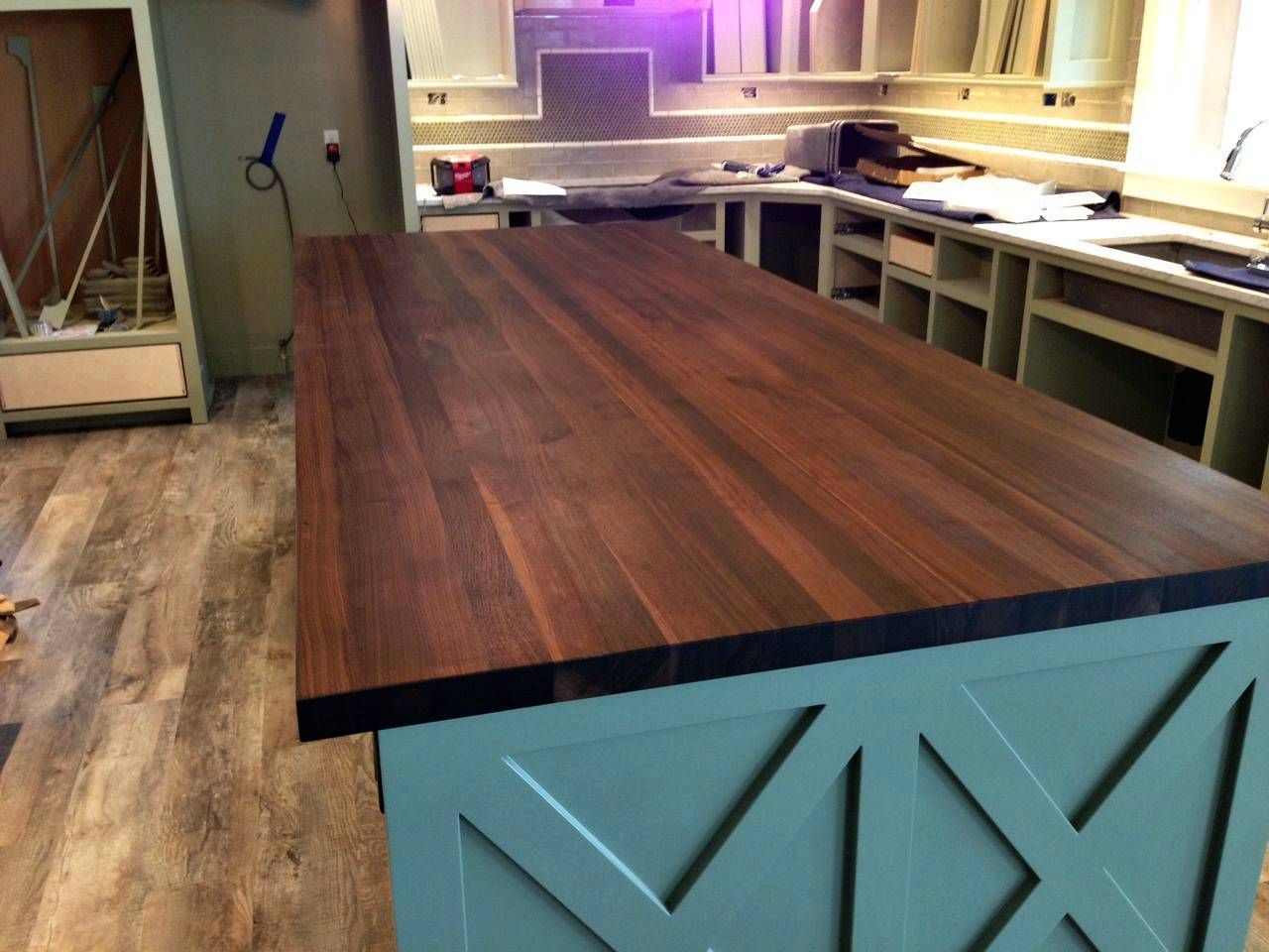 Image Of Fake Butcher Block Countertop Like The Cabinet Color
