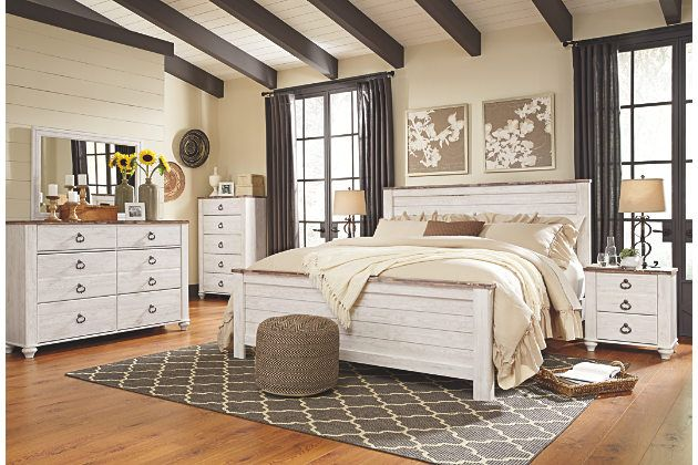 Willowton Two Tone King Bed Frame And Matching Furniture Ashley