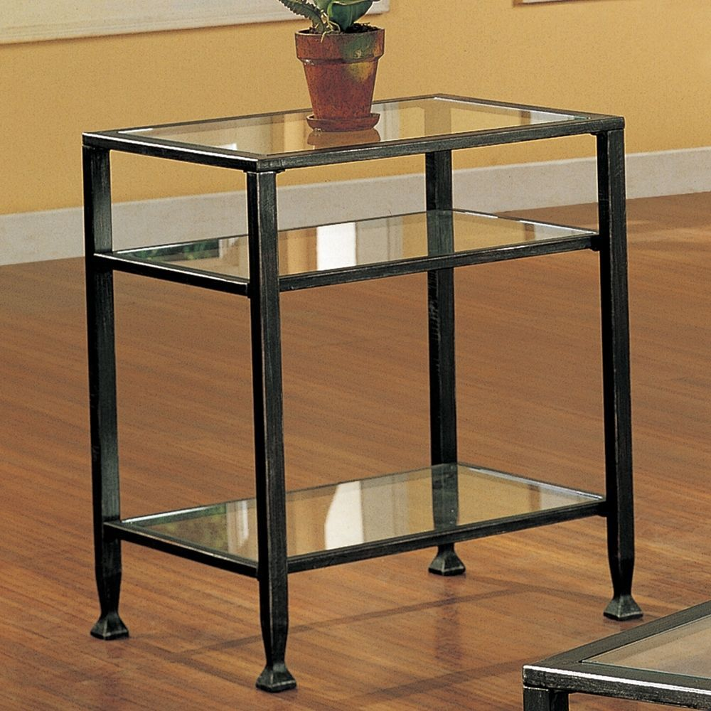 Metal Glass End Tables Contemporary End Table Metal Glass Transitional Black Distressed