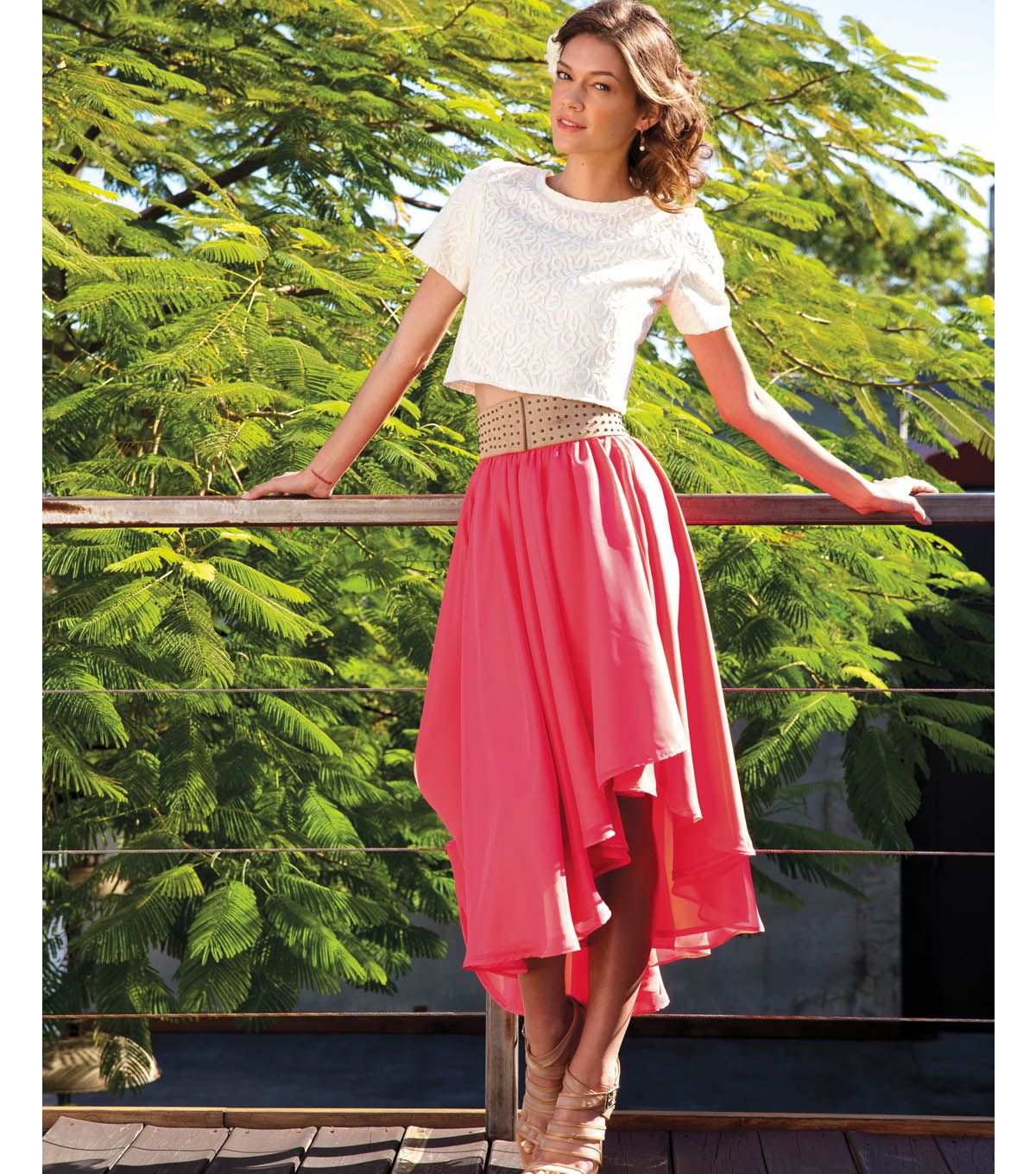 lace crop top and chiffon wrap skirt | sewing | pinterest | lace