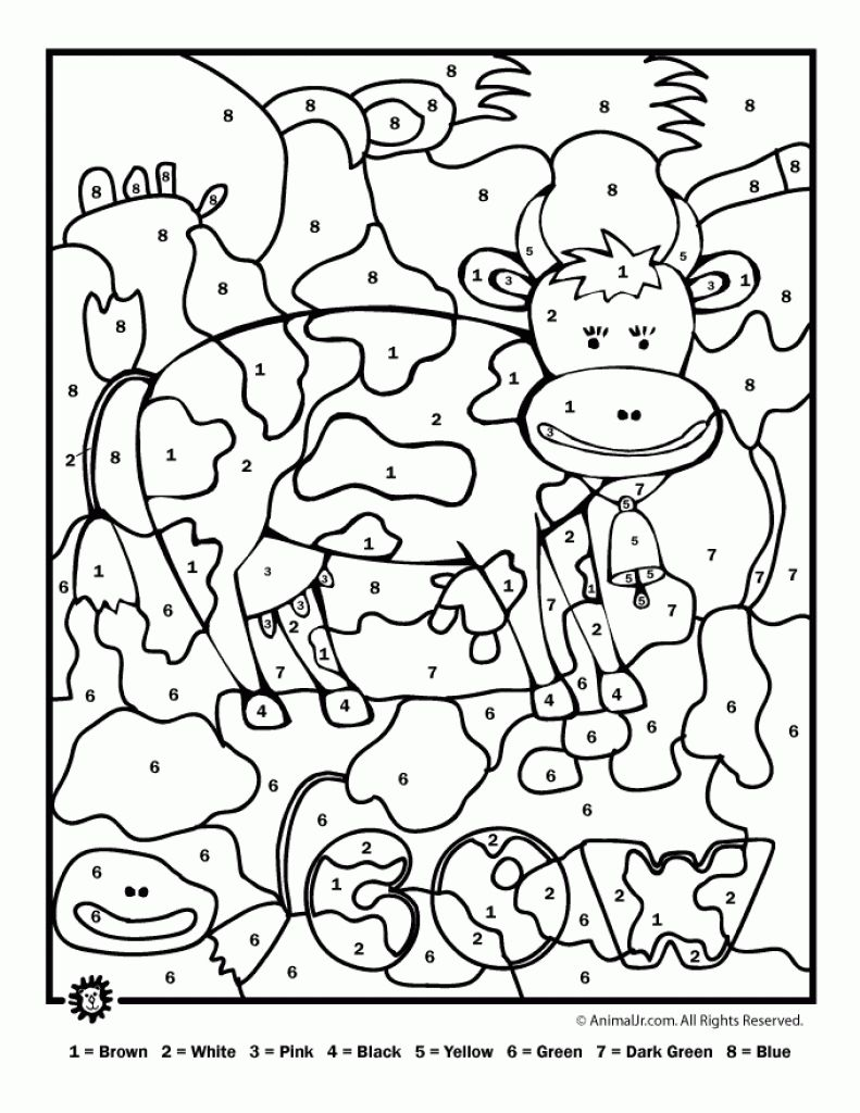 Farm Cow Animal Color By Number Coloring Page To Print For Kids