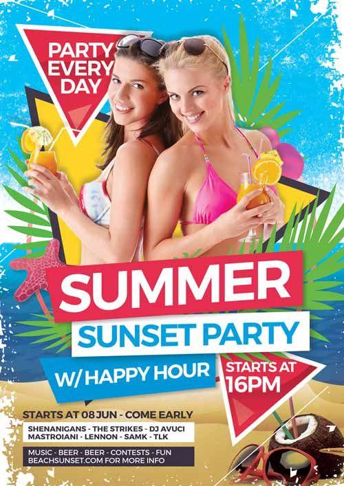 Summer Sunset Party Free Flyer Template  HttpFreepsdflyerCom