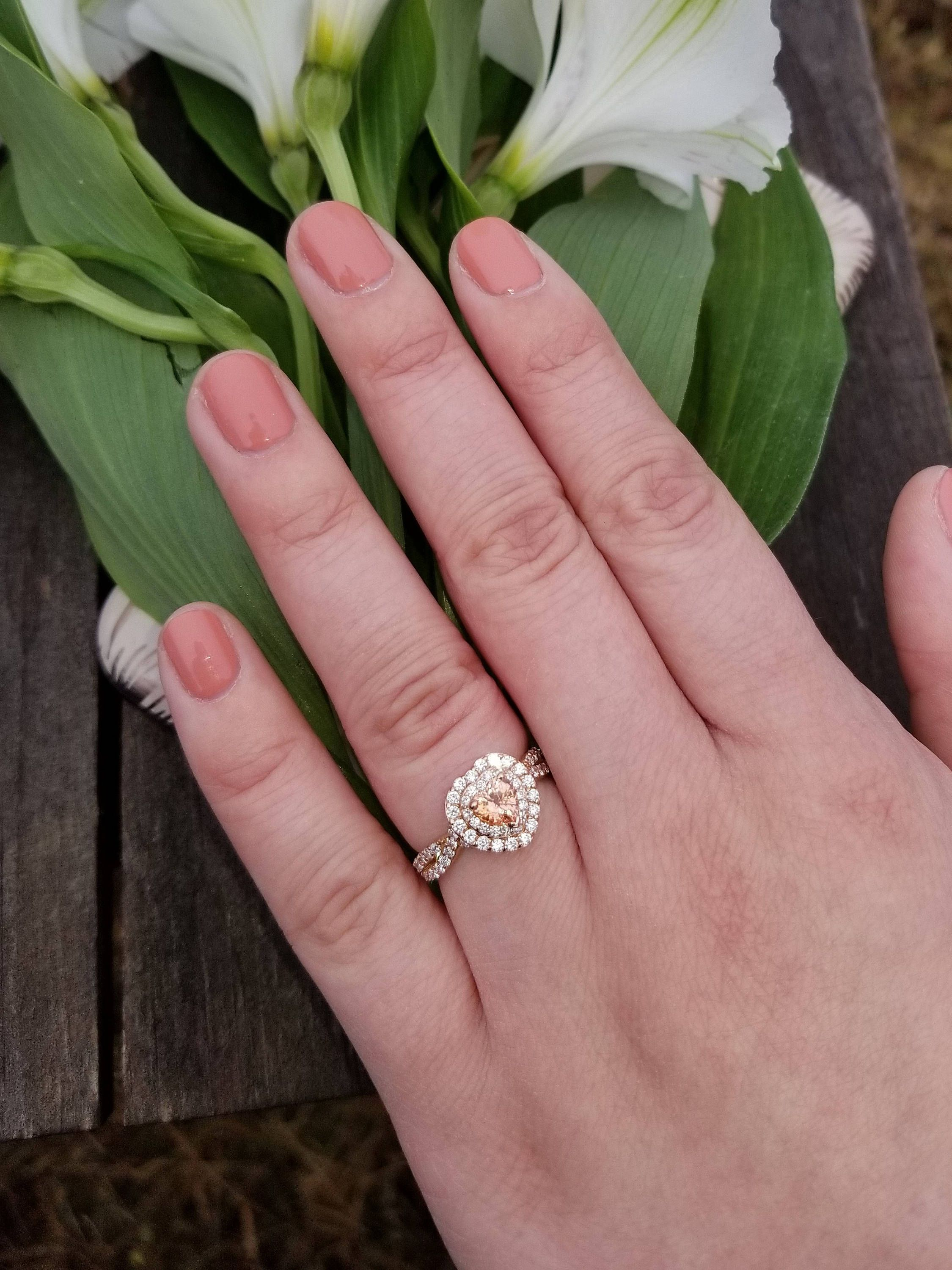 Padparadscha Color Heart Sapphire 14k Rose Gold Infinity Ring | Weddings