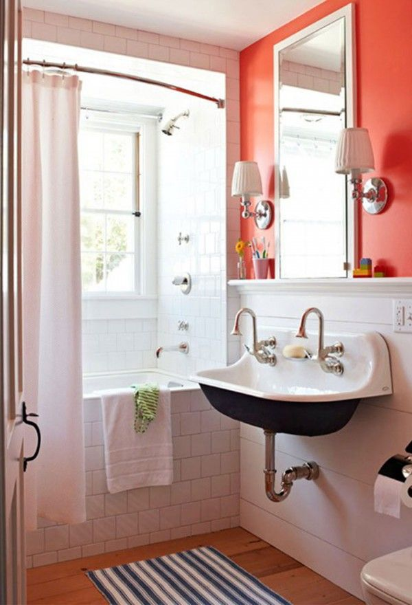 Orange Bathroom Ideas 2014 2 Small Bathroom Decor Bathroom Design Small Bathroom Inspiration