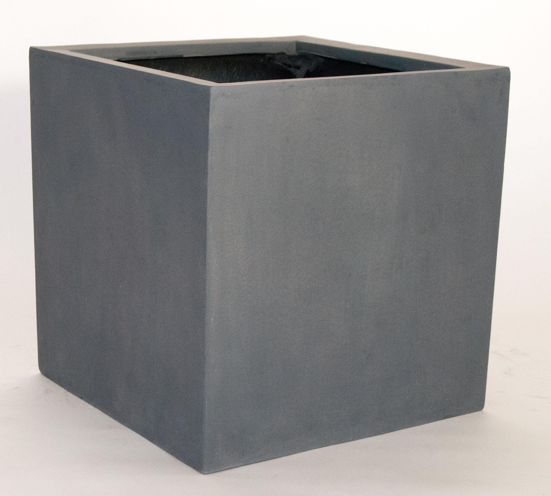 Blumenkubel Fiberglas Quadratisch 40x40x40cm Grau Ohne