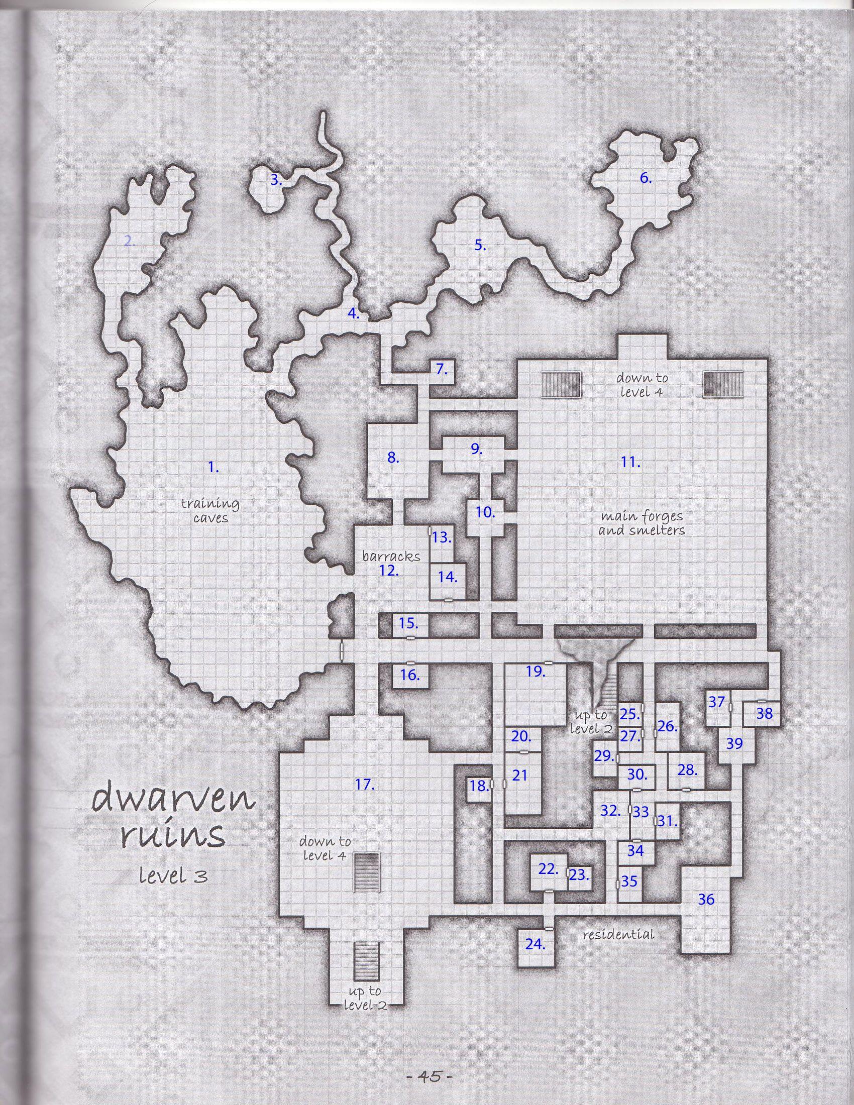 Dwarven Ruins | Floor: 3 | Fantasy - RPG Maps | Dungeon maps