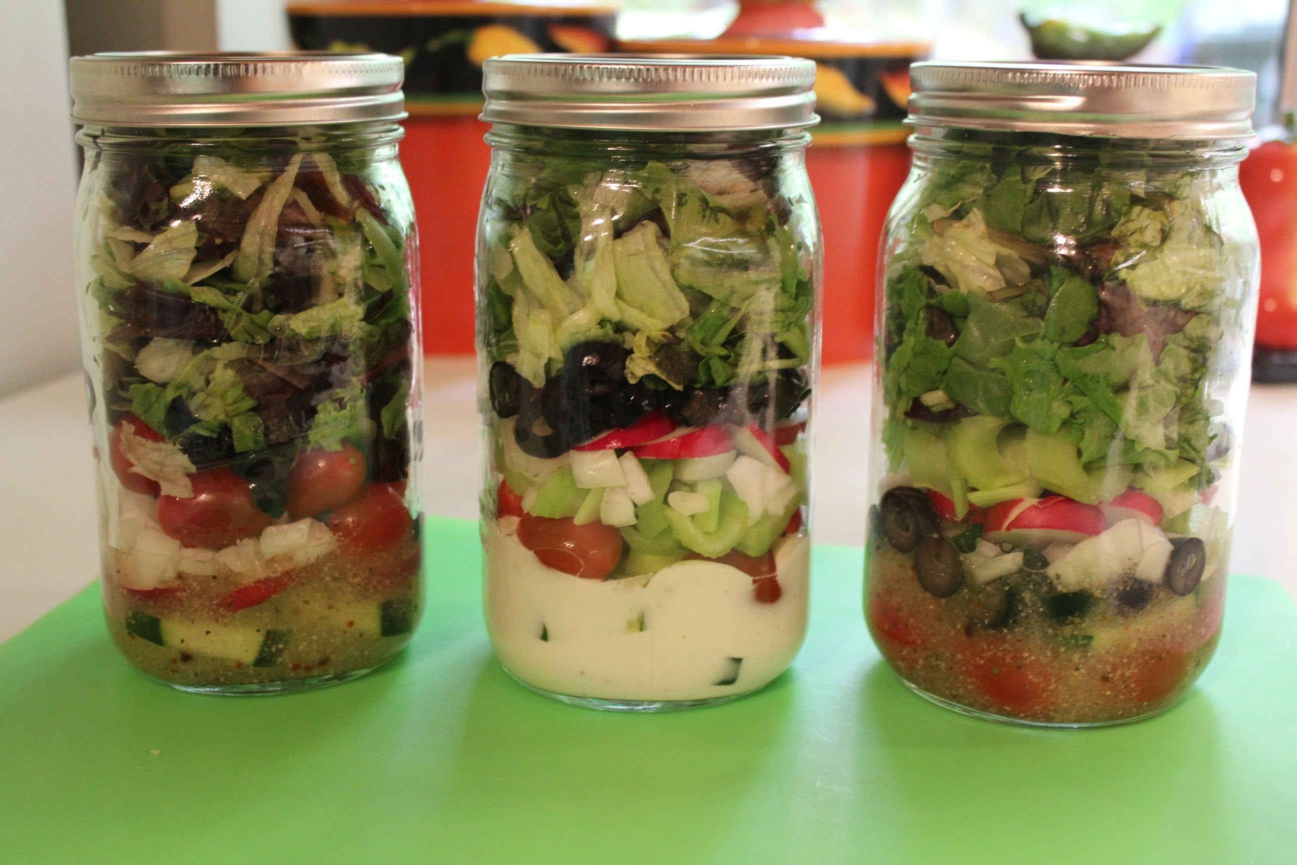 salads in jars - Google Search also found putting cottage cheese on the bottom as the dressing is so awesome takes so good