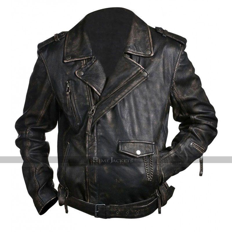 Men Brando Jacket Premium Cowhide Leather Motorcycle Bikers Riders Black Jacket