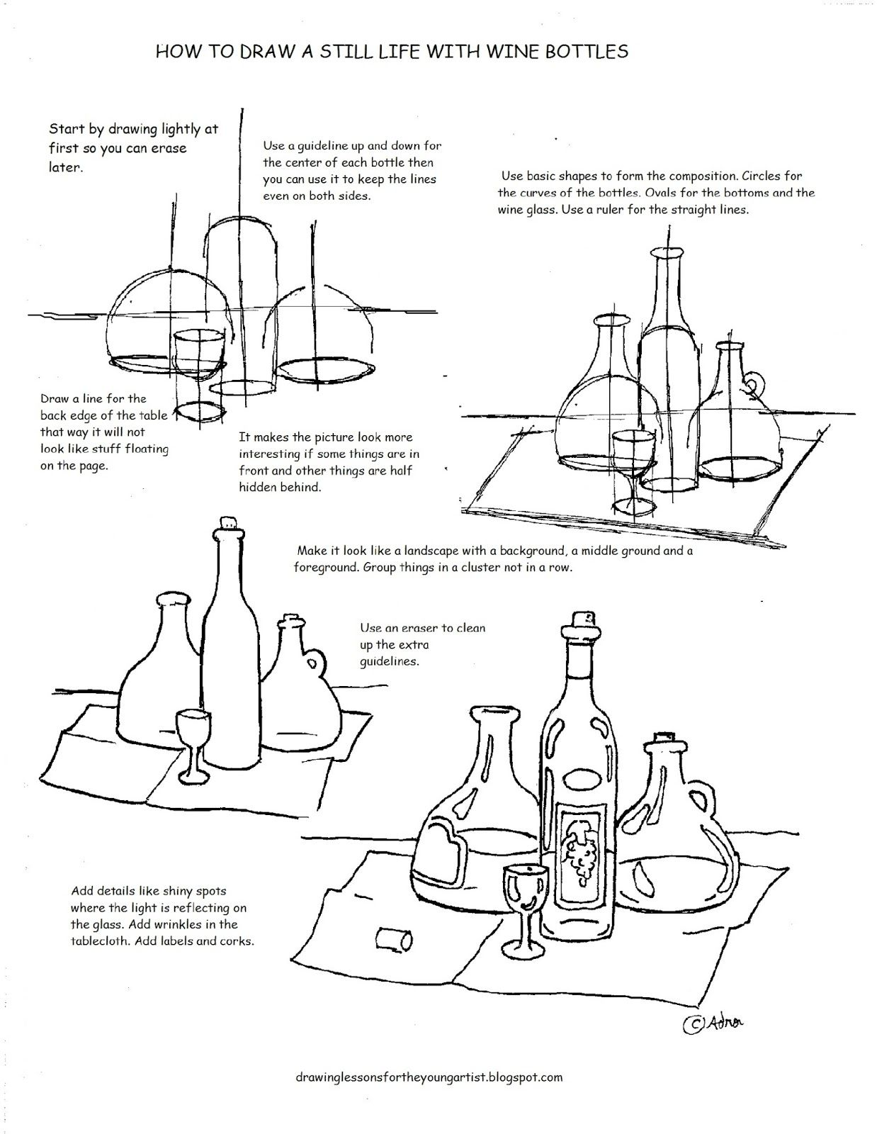 Printable How To Draw A Still Life With Wine Bottles