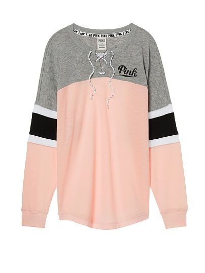 892ebf408bc48 Lace-Up Varsity Crew PINK i like this sweater | clothes | Pink ...