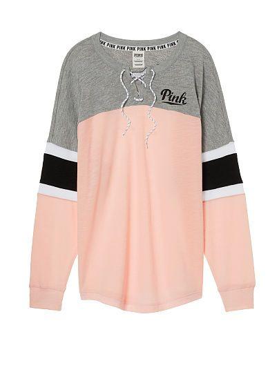 Lace-Up Varsity Crew PINK i like this sweater | Long sleeve shirts ...