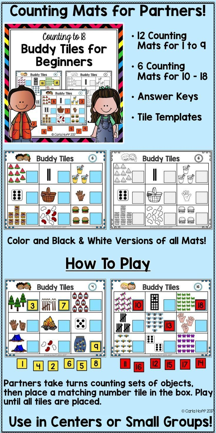 Counting to 18 - Buddy Tiles Counting Mats | Maths, Learning skills ...