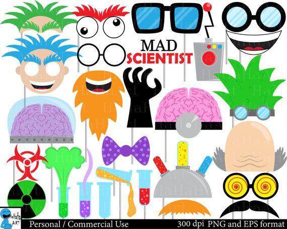 mad scientist props set clipart digital clip art by hahahaart rh pinterest ca