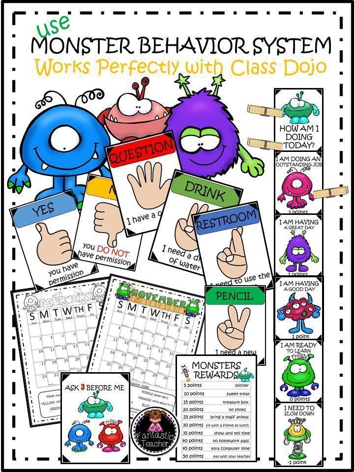 Monster Behavior Calendar with Classroom Management and