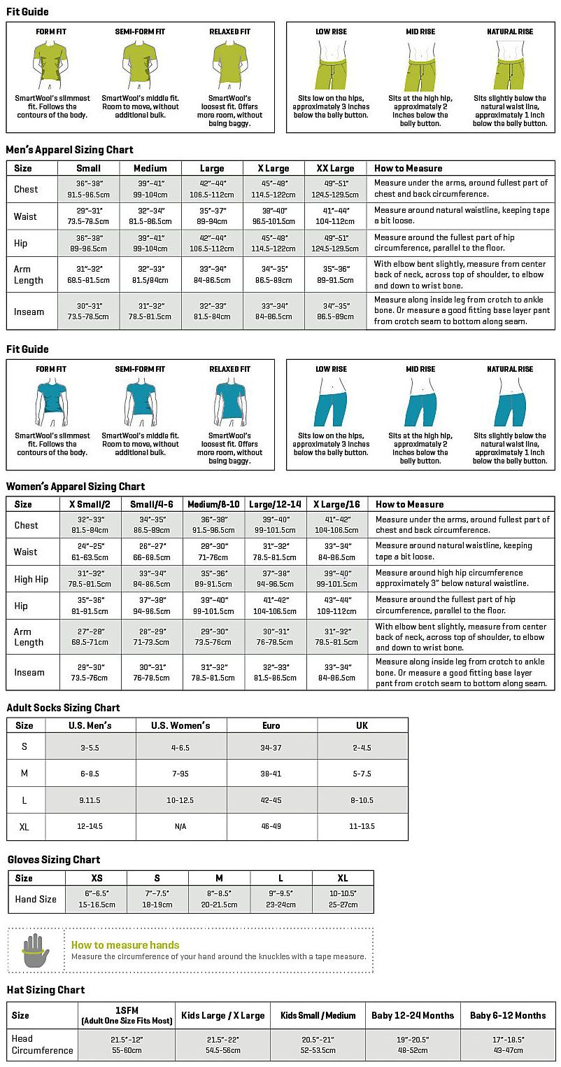 Smartwool size guide template pinterest