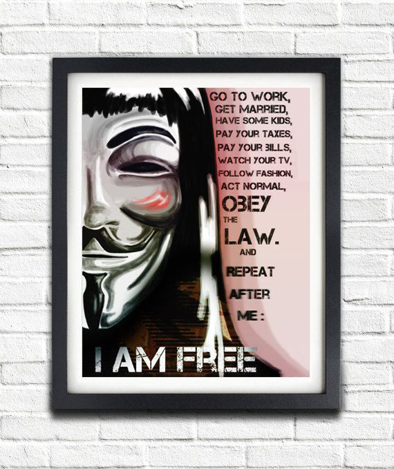 "DIY PRINTABLE POSTER // V For Vendetta // Revolution ""I Am Free"" Quote Print // Typographic Poster Print"